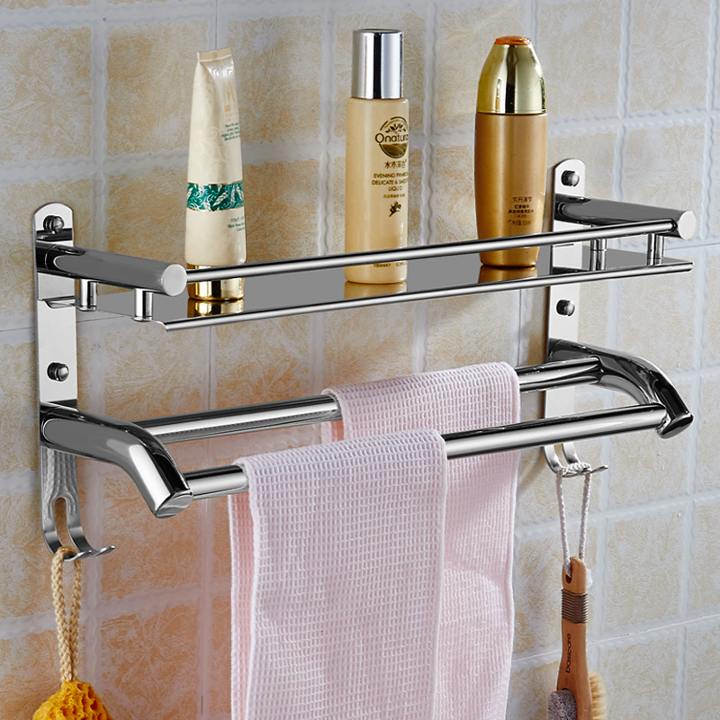 Wall Mount Stainless Steel 2 Layers Storage Basket Shower Room ...