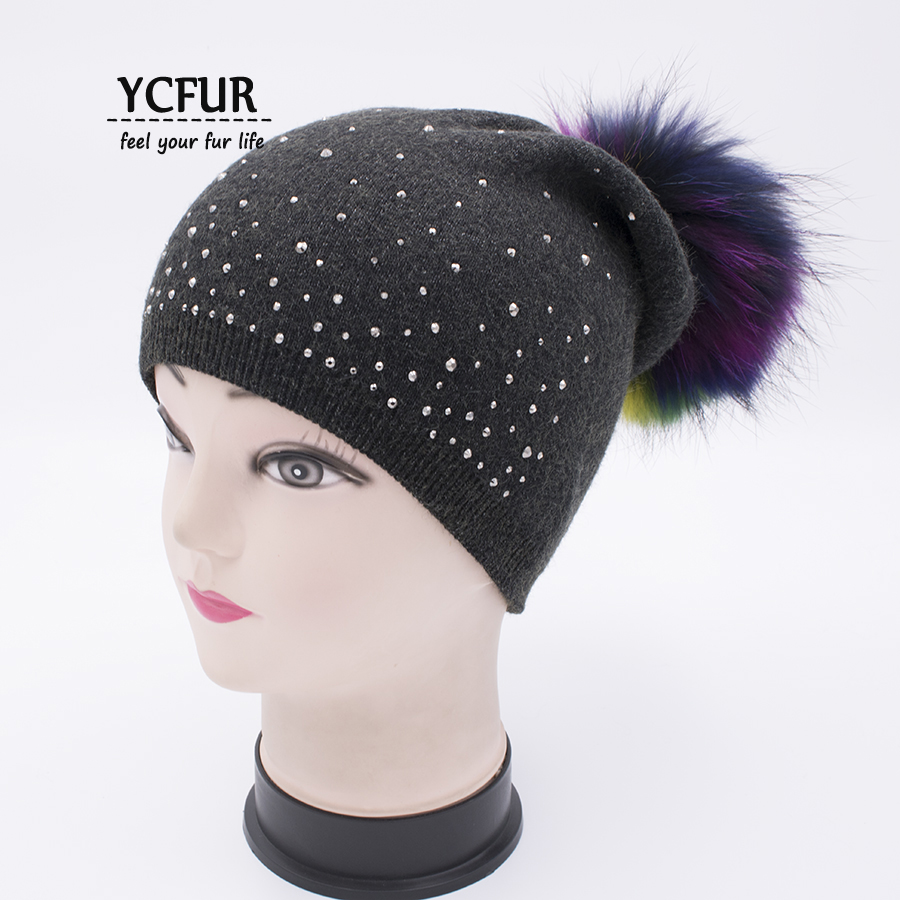 YCFUR Winter Autumn Cap Hat Balaclava Women Knit Wool Caps Beanies Female Genuine Raccoon Dog Fur Pom Pom Hats For Ladies autumn winter beanie fur hat knitted wool cap with raccoon fur pompom skullies caps ladies knit winter hats for women beanies