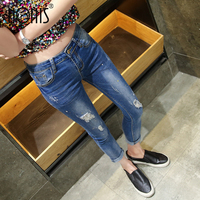 Nonis Women 2018 New Spring High Elastic Pencil Pants Ripped Paint Points Ankle length Jeans Female Boyfriend Skinny Slim Capris