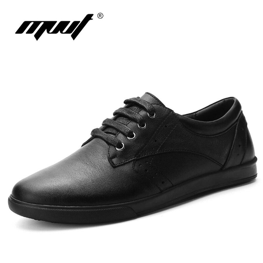 2017 Nouveau style plus la taille noir en cuir chaussures hommes appartements en cuir Véritable hommes casual chaussures confortable classiques hommes de chaussures