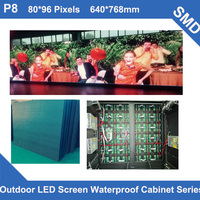 P8 Outdoor SMD led display panel Full Color video TV 640*768mm 80*96dots waterproof Cabinet for advertising LED screen fixed use