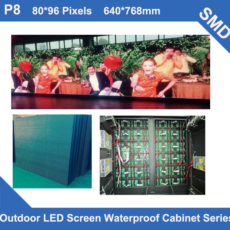 P8 Outdoor SMD led display panel Full Color video TV 640*768mm 80*96dots waterproof Cabinet for advertising LED screen fixed useP8 Outdoor SMD led display panel Full Color video TV 640*768mm 80*96dots waterproof Cabinet for advertising LED screen fixed use