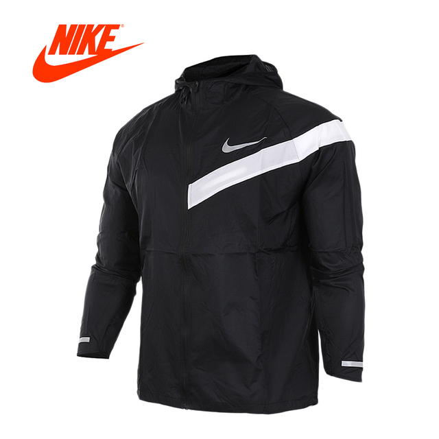 Original New Arrival Authentic Nike Men s Windproof Windrunner New Jacket  Black with White Nike logo ba58dc45b72f