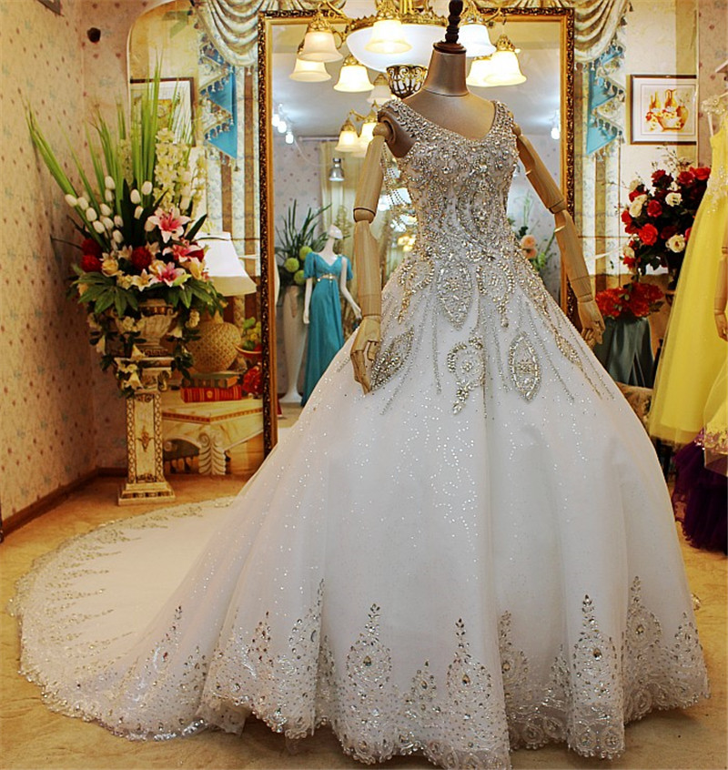 15 Luxury Wedding Gowns Under 5000: Custom Made Ball Gown Crystals Beads Lace Luxury Princess