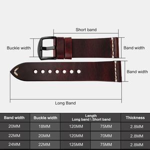 Image 3 - MAIKES Vintage Eenvoudige Lederen Horloge Accessoires 20mm 22mm 24mm Horloge band Zilver & Zwarte Stalen Gesp band Armbanden