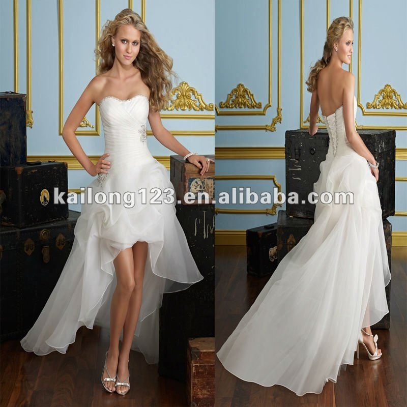 Low Cut Wedding Gowns: Sweetheart A Line Floor Length Front Short Back Long High