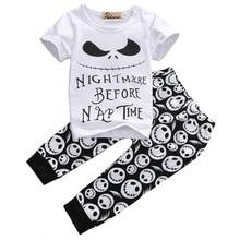 Boys T-shirt Tops Pants 2pcs Clothing 2PCS Set Newborn Infant Toddler Kids Baby Boy Clothes Set Skull Outfits Clothing Cotton