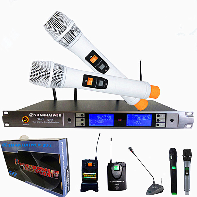 Professional UHF double channel real diversity wireless metal case handheld stage perfermance remote concert cordless microphone