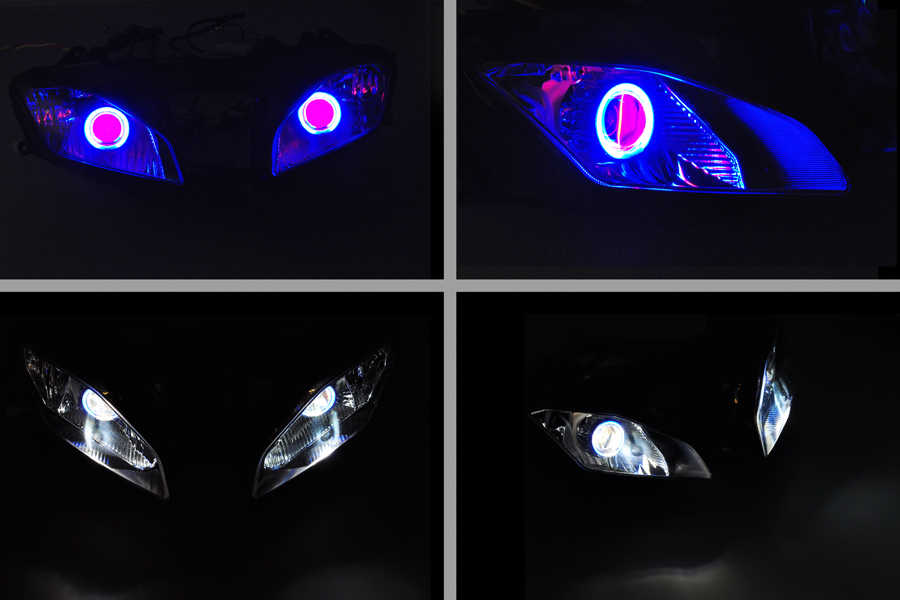 Wotefusi ABS Projector Lamps Headlight Blue Angel Eye + Red Devil Eye For YAMAHA YZF R6 2008-12 08 09 10 11 2012 [DD10-BR] r b parker s the devil wins