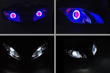 Wotefusi ABS Projector Lamps Headlight Blue Angel Eye + Red Devil Eye For YAMAHA YZF R6 2008-12 08 09 10 11 2012 [DD10-BR] image