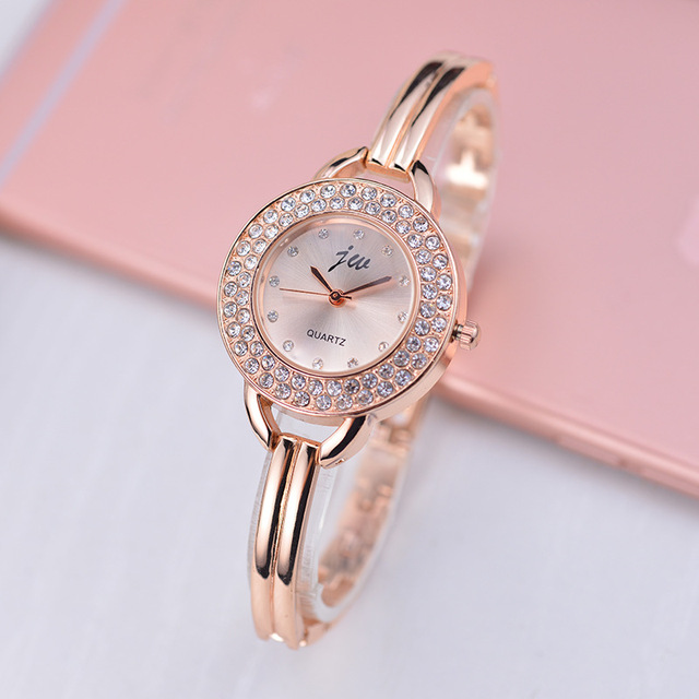Fashion Women Famous Brand Jw Luxury Crystal Rhinestone Rose Gold Womens Analog Dress Wristwatches Ladies Quartz Bracelet Watch