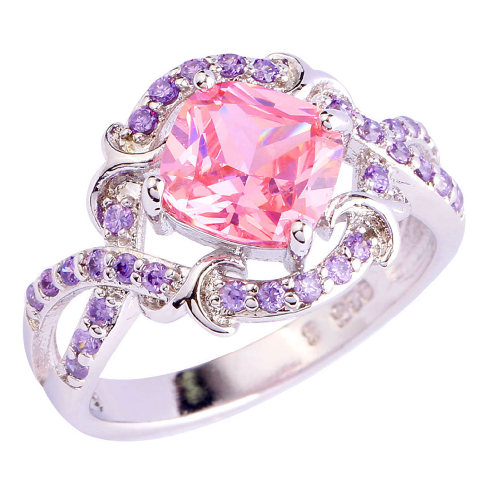 Exquisite Pink CZ Purple Silver Color Ring Size 6 7 8 9 10 New ...
