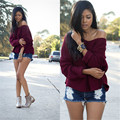 Autumn Winter Women Sweaters And Pullovers 2016 Batwing Sleeve Sexy V Neck Casual Loose Ladies Knitwear Female Jumpers