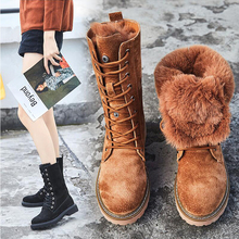 Winter Boots With Fur Women Lace Up Boots high 2019 Womens Shoes Genuine Leather Mid Calf Boot Leather Non Slip botas mujer цена