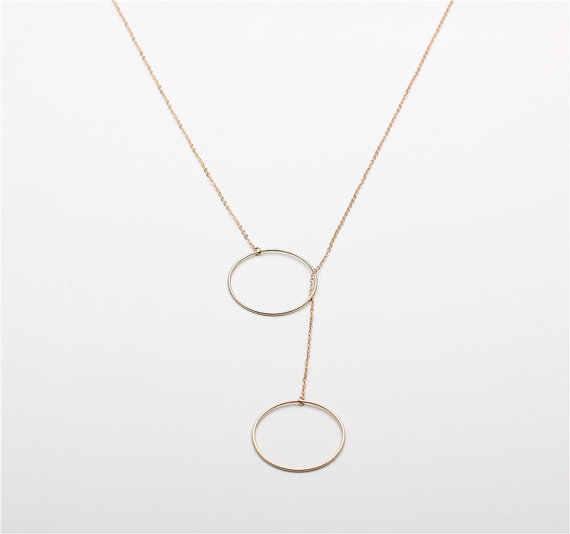 Delikatne duże podwójne koła naszyjniki złoty kolor srebrny łańcuch Halo Y długi naszyjnik biżuteria Colar Feminino