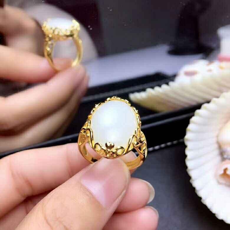 MeiBaPJ ธรรมชาติสีขาวหยกแหวนเงินแท้ 925 Fine เครื่องประดับงานแต่งงาน