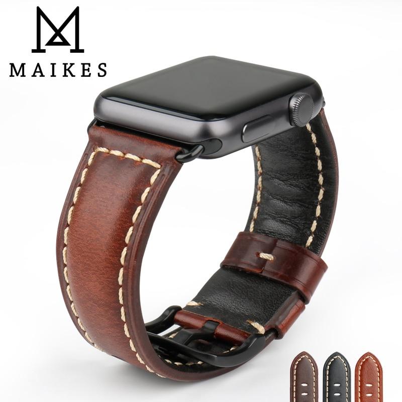2af8d2681cf Accesorios de reloj MAIKES cuero de vaca auténtico para Apple Watch Band  42mm 38mm iWatch 4 Apple Watch Correa 44mm 40mm serie 1, 2, 3, 4