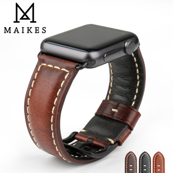 MAIKES Watch Accessories Genuine Leather For Apple Watch Band 42mm 38mm iWatch 4 Apple Watch Strap 44mm 40mm Series 1 2 3 4 5 charge for apple watch stand apple watch 5 4 3 2 1 iwatch 42mm 38mm 44mm 40mm smart watch accessories station holder black white