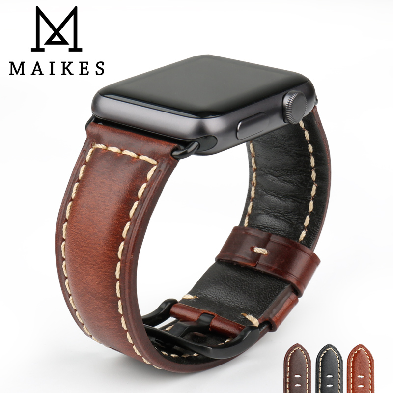 MAIKES Watch Accessories unchangeable Genuine Leather For Apple Watch Band 42mm 38mm iWatch Apple Watch Strap Series 1 2 3