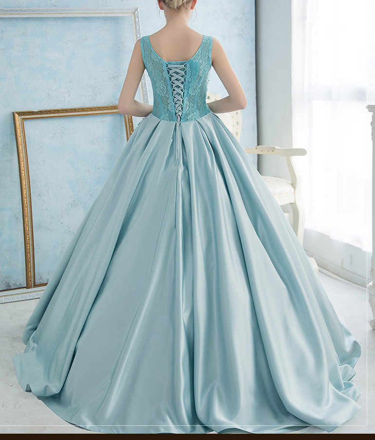 Fashion Light Blue Abendkleid Appliques Lace Up Ballkleid Abendkleid ...