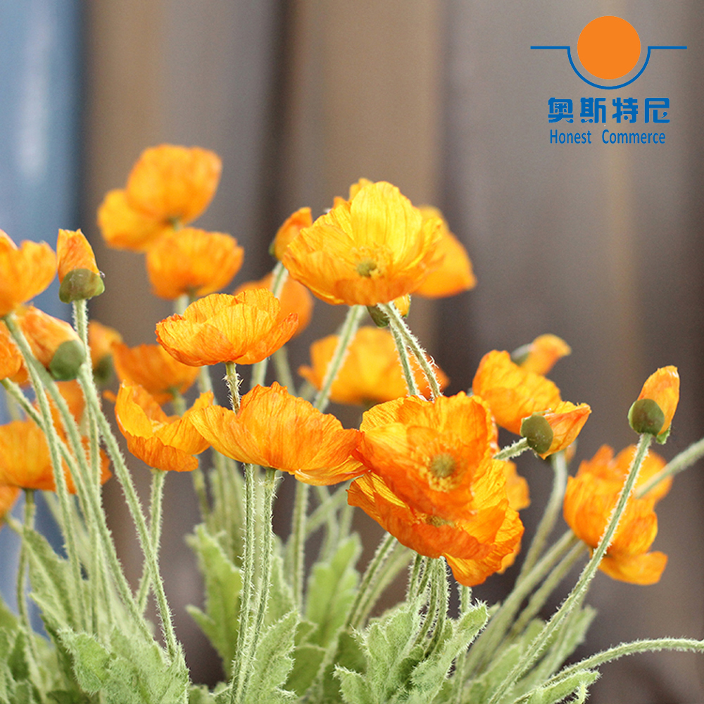 5pcs Artificial Flower Bouquets Orange Color Artificial Corn Poppy