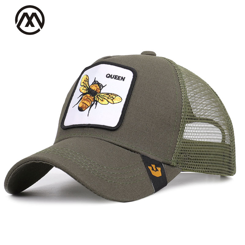 Summer animal embroidery   baseball     cap   fashion mesh cartoon bee duck outdoor shade unisex high quality cotton breathable cock hat