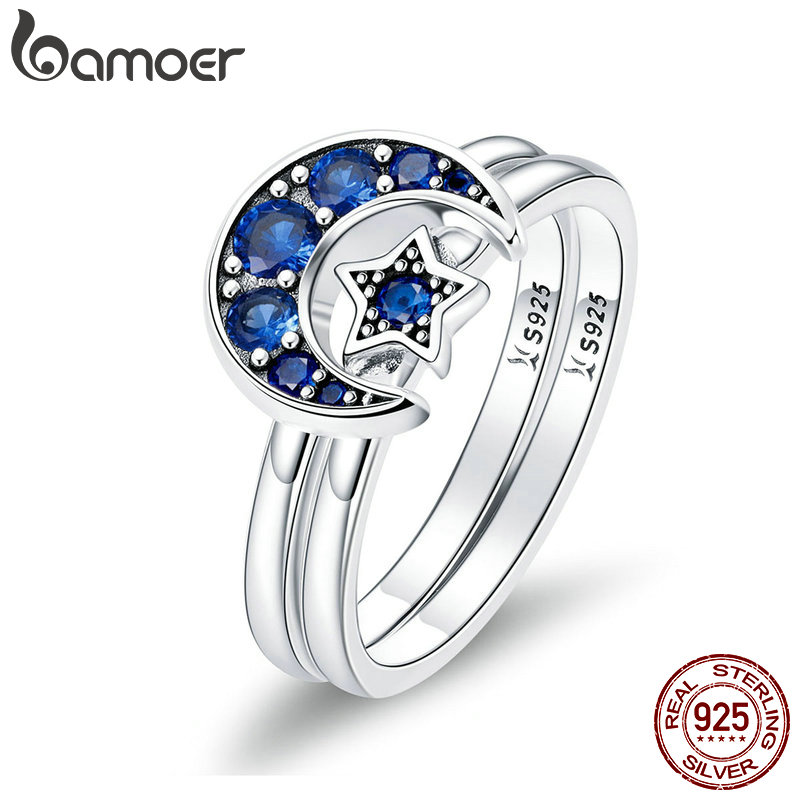 BAMOER Authentic 925 Sterling Silver Blooming Moon and Star Blue CZ Female Rings for Women Sterling Silver Jewelry Anel SCR412 925 sterling silver bracelets for women moon and star cz crystal bracelets
