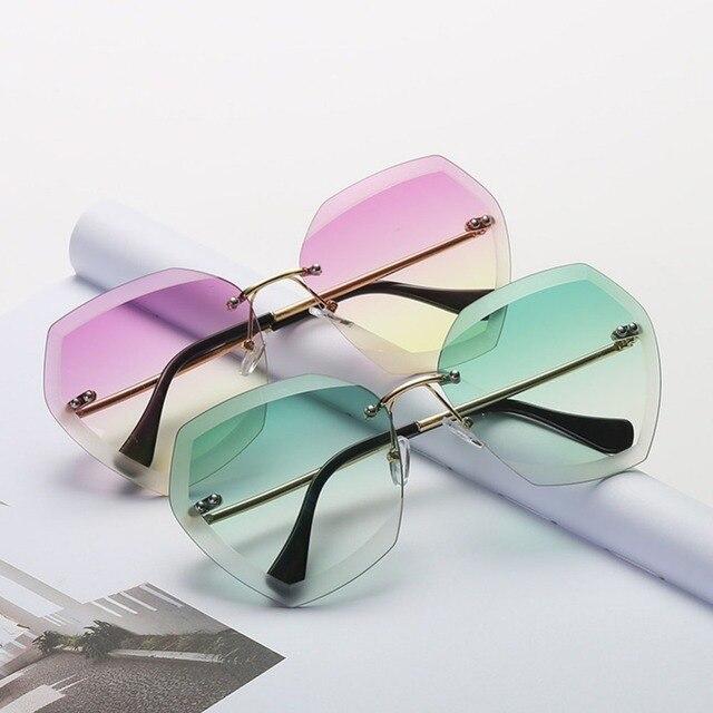 Без оправы покрытие для солнцезащитных очков линзы с переходом цвета Для женщин солнцезащитные очки для вождения Золотое металлическое обрамление солнцезащитные женские очки UV400 #242299