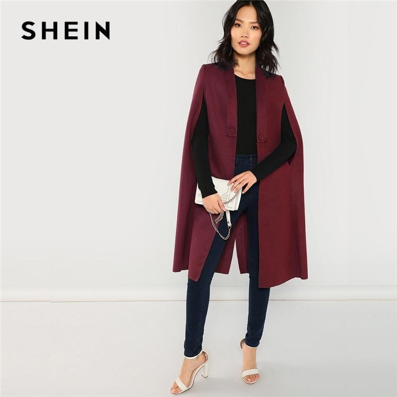 02784660171 SHEIN Burgundy Office Lady Elegant Solid Buttoned Shawl Collar Long Cape  Coat Autumn Modern Lady Workwear