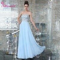 Alexzendra Light Blue A Line Chiffon Long Pregnant Prom Dresses 2018 Strapless Beaded Simple Party Dresses