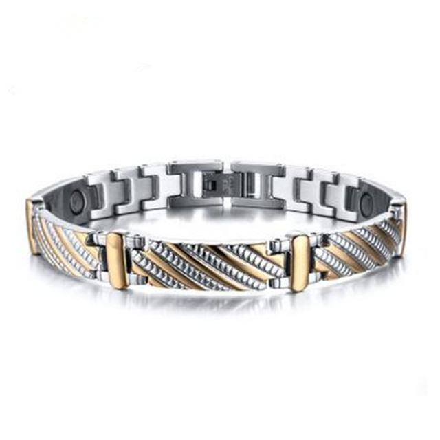 Men's Stainless Steel Jewelry Magnetically Health Bracelet Steel Retro Men's Bangle Jewelry Wholesale - Free Shipping