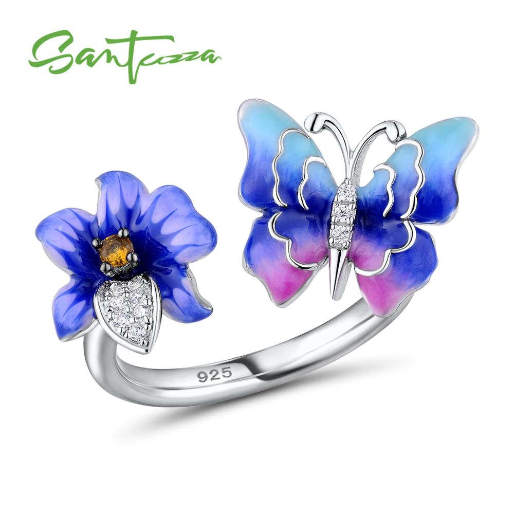 SANTUZZA Silver Ring For Women 925 Sterling Silver Colorful Butterfly Flower Adjustable Ring Fashion Jewelry Handmade