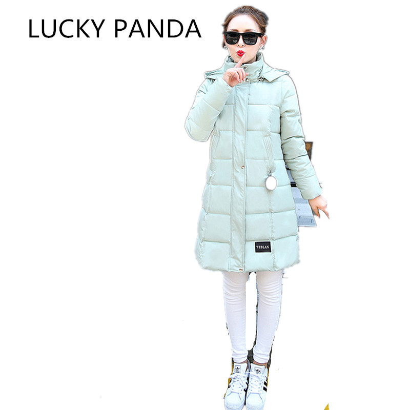 LUCKY PANDA 2016 WOMAN new winter cotton down in the long slim hooded cotton feather size LKB192 the woman in the photo