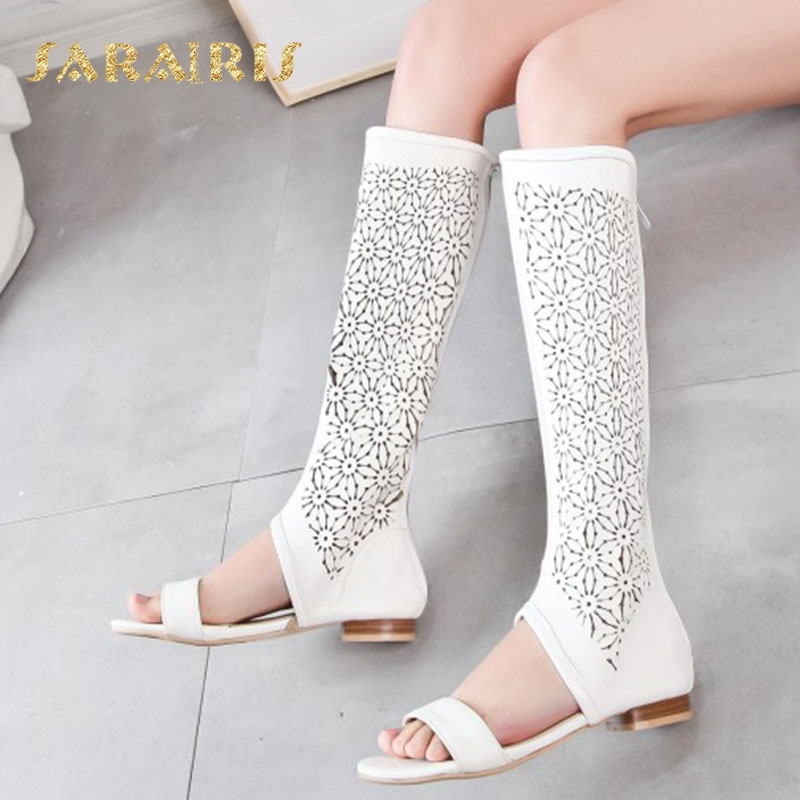 Sarairis Hollow Out Upper Low Chunky Heel Open Toe Summer Party Wedding Casual Shoes Woman Knee Boots Size 34 48