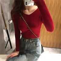 Осенний вязаный свитер с v-образным вырезом, модные женские свитера, 2019 Зимние Топы для женщин, пуловер, джемпер, женские свитера