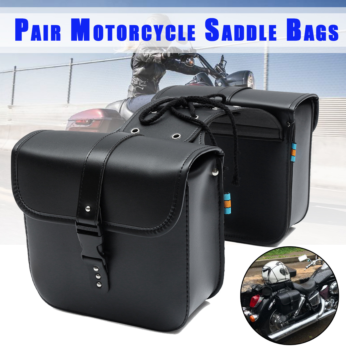 Pair Universal Motorcycle Saddle Bags Side Storage Luggage Bag Fork Tool Pouch For Harley/Honda