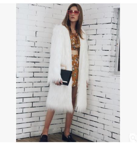 2017 Women Winter Autumn Imitation Fur Jackets Large Size Hooded Faux Fur Overcoats Long Section Female Fur Clothes Outwear K485