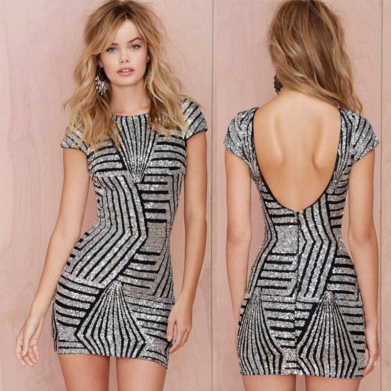 Short Sleeve Silver Cocktail Dress