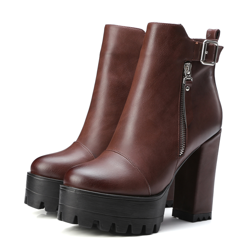 ФОТО Chinese casual style round toe ankle boots fashion zippers buckle platform black brown grey yellow high heel women riding boots