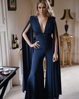 New navy Blue Jumpsuit Women Sexy V Neck Cotton Bodycon Jumpsuit 2019 Ladies Designer Boot Cut Jumpsuit with Cloak F 58