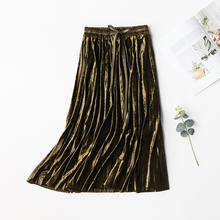 2019 New Spring Autumn Skirts Womens Elastic High Waisted Pleated Long Skirt Solid Color Velvet Causal Midi Skirts for Women stylish high waisted solid color a line midi skirt for women