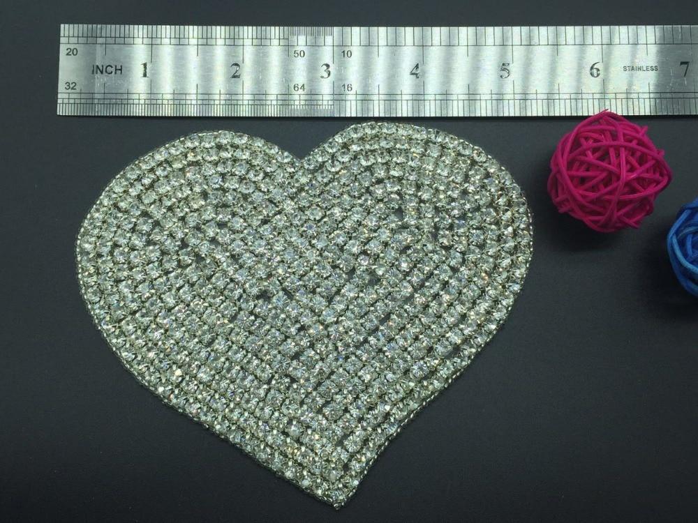 12cm szív alakú menyasszonyi kristály kövér strasszos rátétes - Művészet, kézművesség és varrás