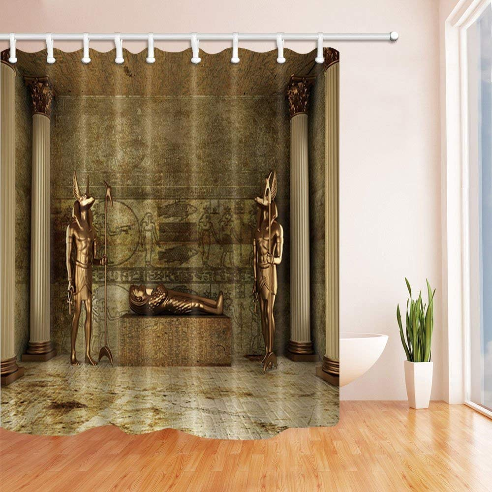Shower Curtains Egyptian Bronze Statue