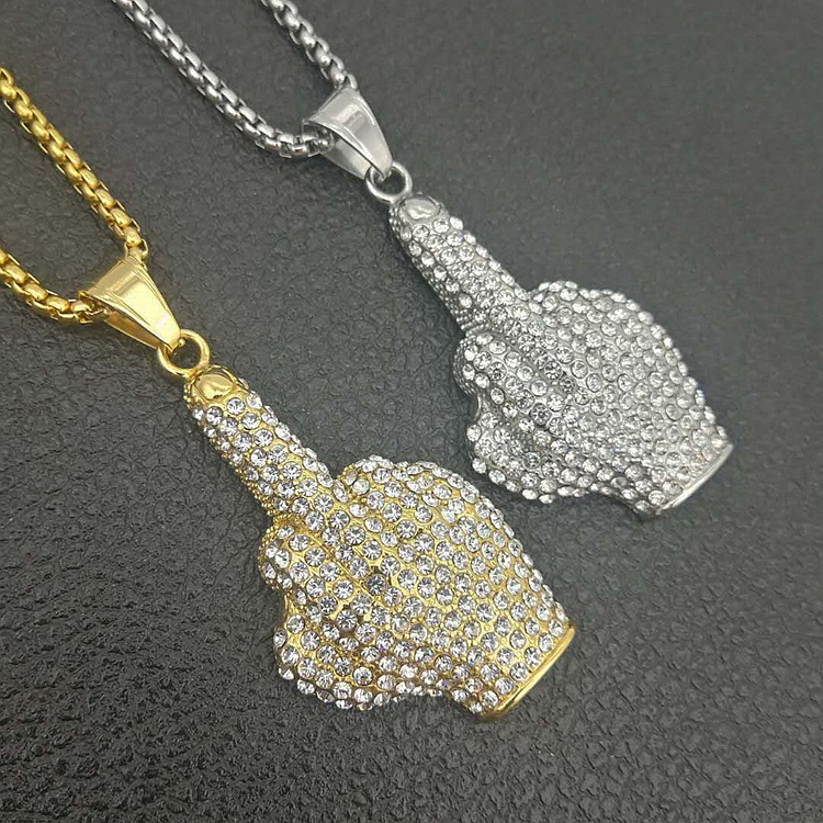 Hip Hop Männer Frauen Gold Farbe Überzogen Mit Voll AAA + zirkon Big Middle Finger Anhänger Halsketten Bling Ketten Vogue schmuck