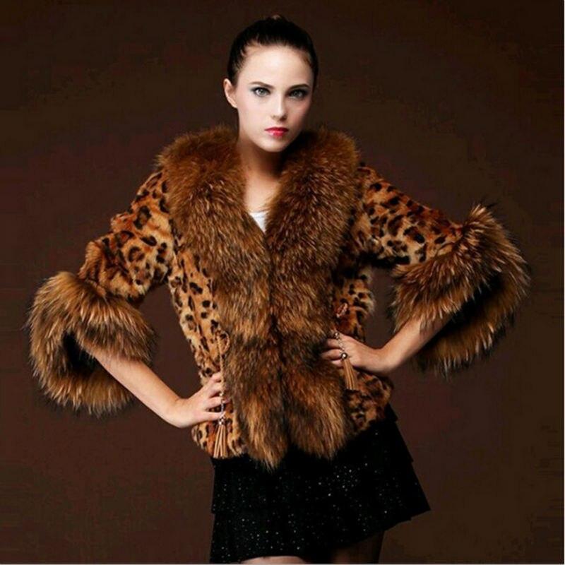 Faux Fur Coat Women Feather Collar Winter Jacket Female Artificial Raccoon Dog Fur Coats Leopard Perfect Furry Women's Gilet