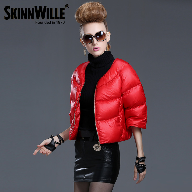 Skinnwille 2017 New Arrival Women Fashion Flare sleeve Short Down Coat Female Thick Brand Down Jacket