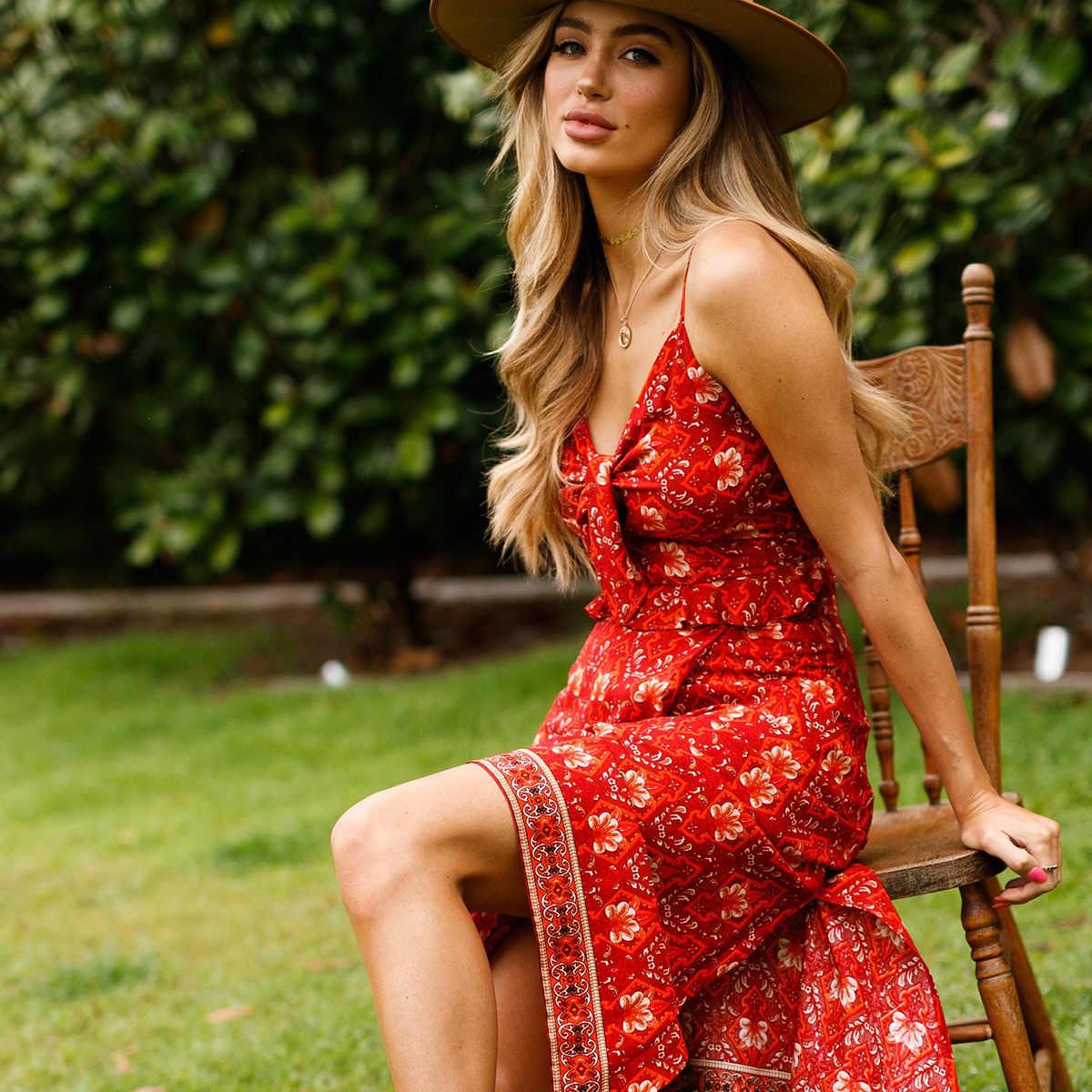 Jastie 2019 летний комплект из 2 предметов платье на шнуровке спереди топ + миди юбка Женский комплект Бохо красный цветочный принт платья сексуальный Слинг платье костюм