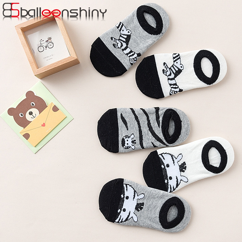 BalleenShiny 5 Pairs/lot Kawaii Animal Print Socks Cartoon Cotton Baby Boys Girls Soft Socks Cute Fashion Socks Spring Autumn