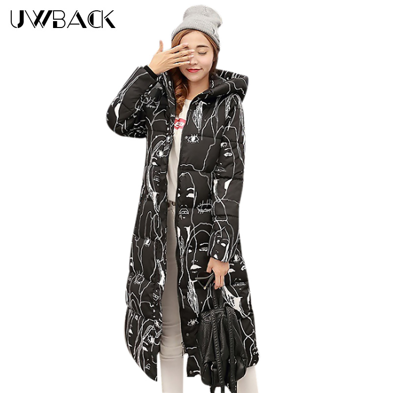 Uwback 2018 New Winter Jacket Women Large Size 4XL X-Long Print Thick - Women's Clothing