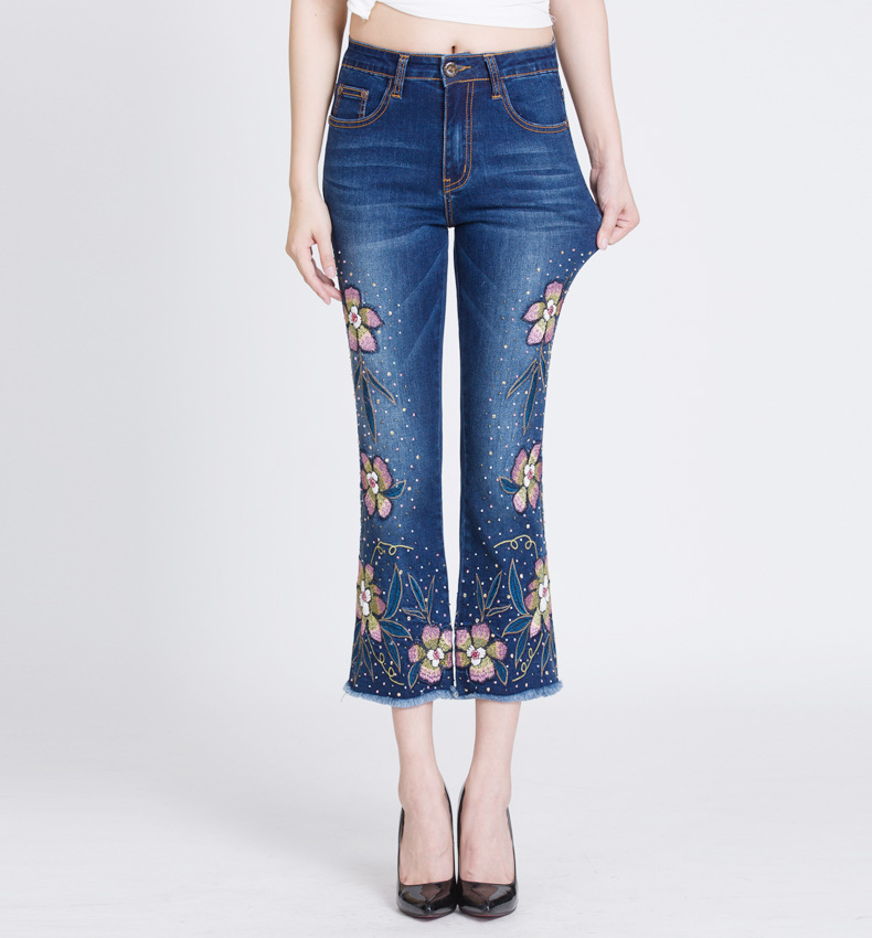 KSTUN FERZIGE Women Jeans with Embroidery High Waist Stretch Slim Fit Bell Bottoms Flares Sequined Rhinestones Boot Cut Elegant Woman 17